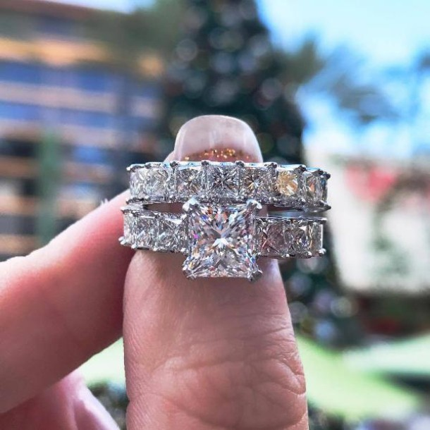 Prinzessin Schliff Weißem Saphir Sterling Silber Ring Sets