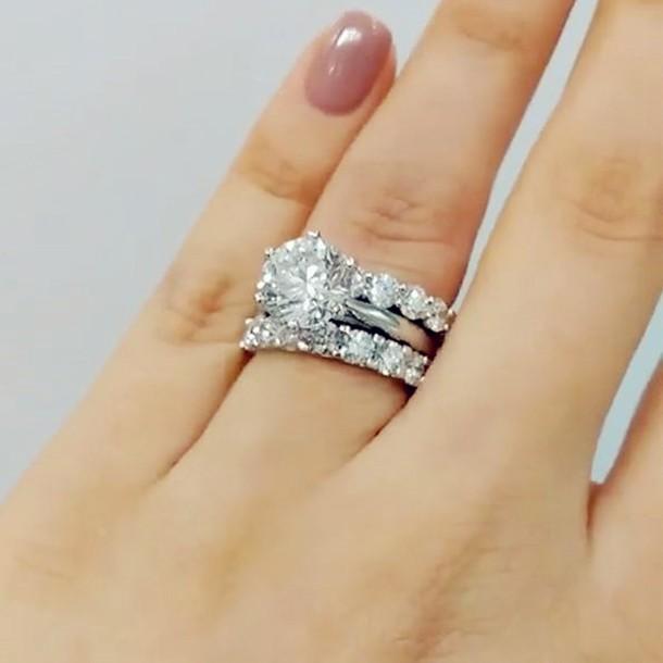 Rund Weißer Saphir Silber 925 3 Stücke Hochzeit Ring Sets