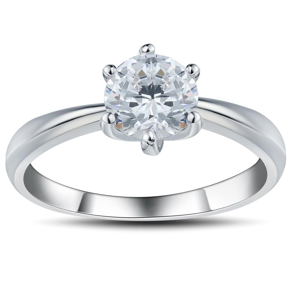 Runder Schliff aus Weißemem Saphir 0.6CT 925 Sterling Silber Versprechen Ringe For Her