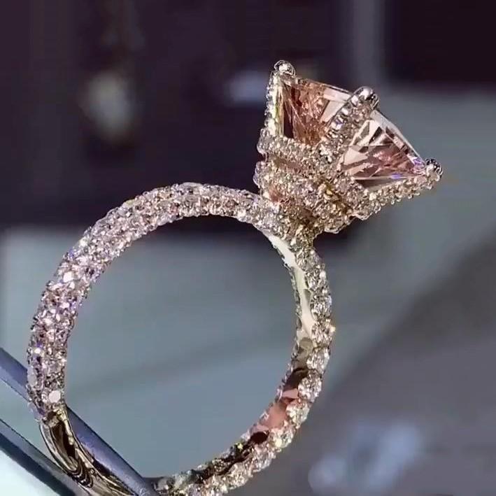 Strahlenden Schliff  Champagner Saphir 925 Sterling Silber Roségold Verlobungsringe