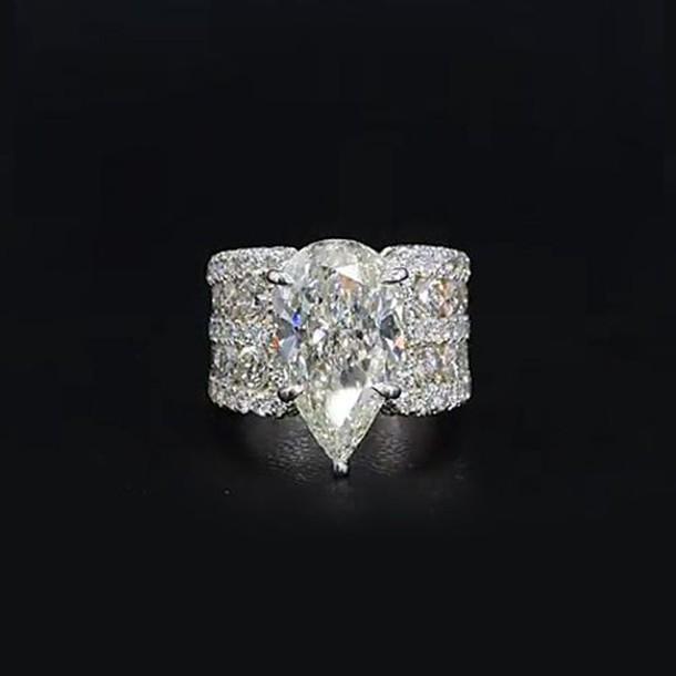 Birne Schliff Weißem Saphir 925 Sterling Silber Verlobungsringe