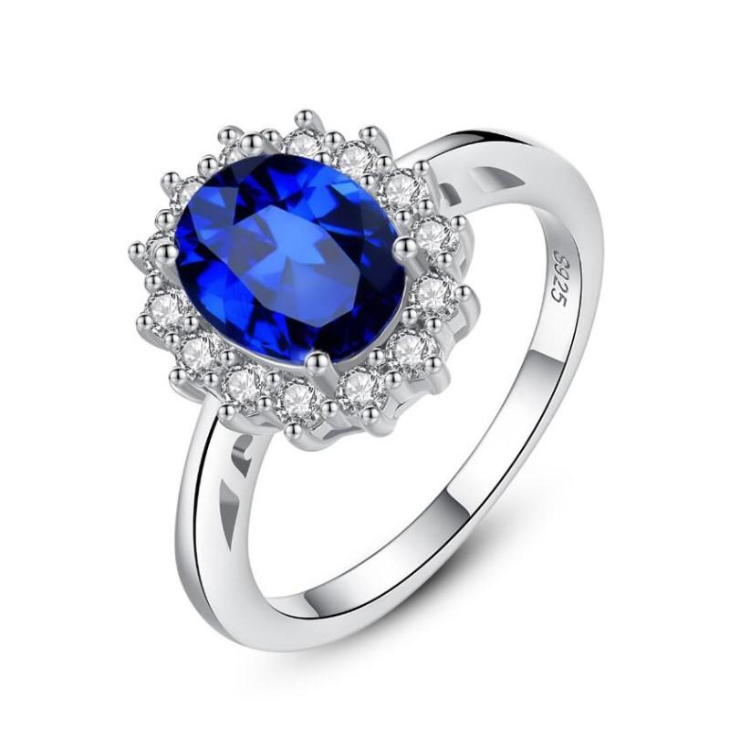 Ovale Schnitt Blauer Saphir  925 Sterling Silber Versprechenringe