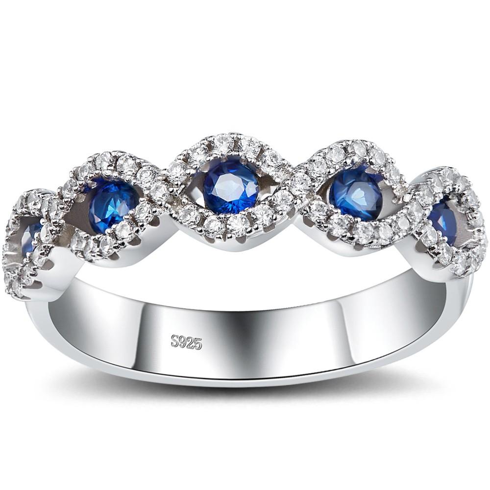 Runder Schliff Saphir 925 Sterling Silber Damen Memoire Ringe