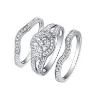 Runder Schliff 925 Sterling Silber Weißem Saphir 3-steine Halo Ringe