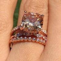 Cushion Orange Saphir Rotgold Silber 925 3 Stücke Hochzeit Ring Sets