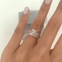Ovaler Schnitt Weißer Saphir 925 Sterling Silber 3-Teilige Ringe Set