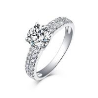 Runder Schliff 925 Sterling Silber Weißemer Saphir Verlobungsringe