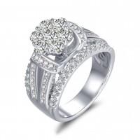 Rundschnittblume Weißemer Saphir 925 Sterling Silber Verlobungsringe
