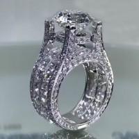 Runder Schliff Weißem Saphir 925 Sterling Silber Art Deco Verlobungsringe