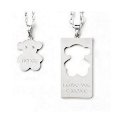 Niedliches S925 Sterling Silber Personalized Engravable Couple Halsschmuck