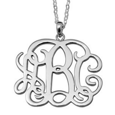 Monogramm personalisiert S925 Sterling Silber Name Halsschmuck
