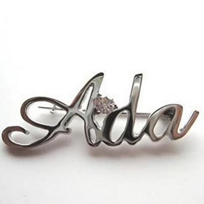 Personalisierte 925 Sterling Silber Namensbrosche