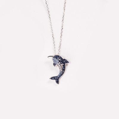 Blau Saphir Dolphin S925 Sterling Silber Halsschmuck