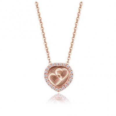 RoséGelbgold Herz zu Herz S925 Sterling Silber Halsschmuck