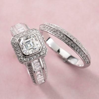 Asscher Schliff Weißer Saphir 925 Sterling Silber Halo Ringe Set