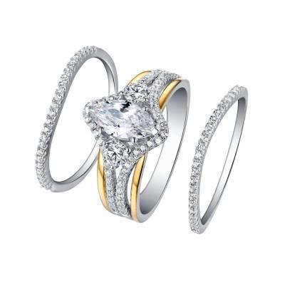 Ovale Schliff Gelbgold S925 Weißemer Saphir 3-Stern 3-Zirkonia Ringe