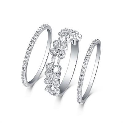 Runder Schliff aus Weißemem Saphir S925 Sterling Silber Art Deco 3-steine Ringe