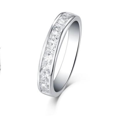 Princess Schliff Weißem Saphir 925 Sterling Silber Stapelbare Ringe