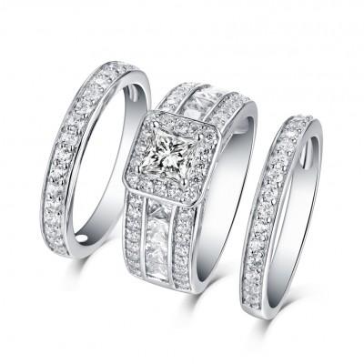 Kissen Schliff Weißem Saphir 925 Sterling Silber 3-steine Halo Ringe