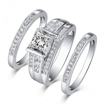 Princess Schliff S925Sterling Silber Weißemer Saphir 3-steine Ringe
