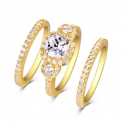 Princess Schliff Weißem Saphir Gelbgold S925 Sterling Silber Halo 3-steine Ringe