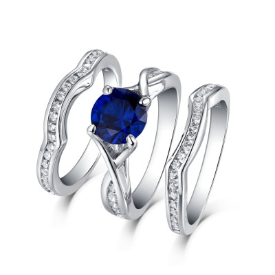 Runder Saphir in Weißem & Weißemer Saphir S925 Sterling Silber 3-steine Ringe