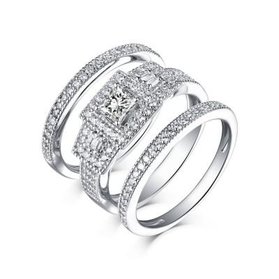 Princess Schliff 925er Sterling Silber Weißemer Saphir 3-steine Ringe