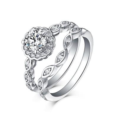 Runder Schliff 925 Sterling Silber Weißem Saphir Halo Braut-sets