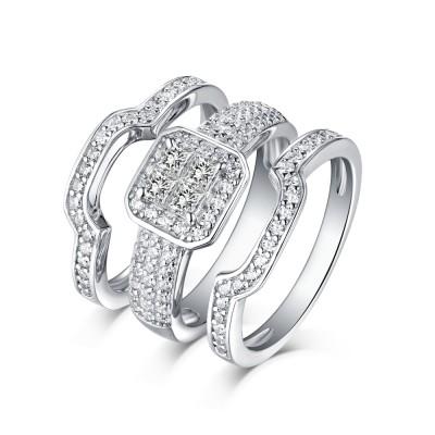 Princess Schliff Halo 925 Sterling Silber Weißemer Saphir 3-steine Ringe