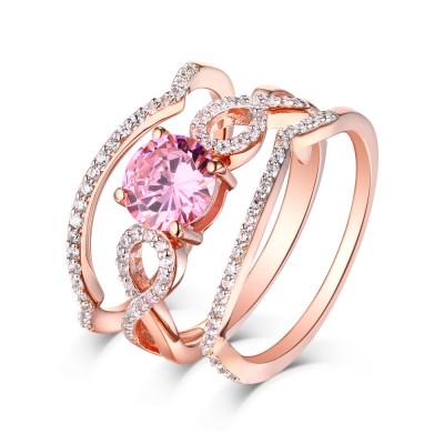 Runder Schliff Rosa Saphir RoséGelbgold 925 Sterling Silber 3-steine Ringe
