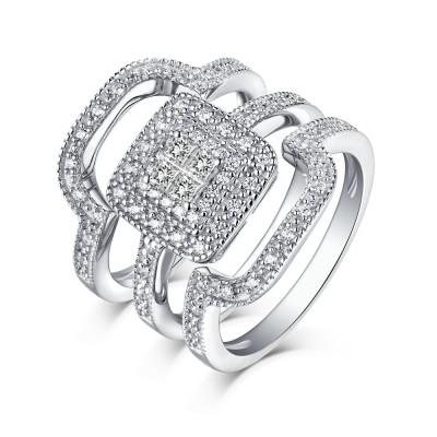 Runder Schliff 925 Sterling Silber Weißemer Saphir 3-steine Ringe