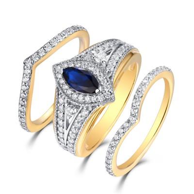 Marquise Schliff Gelbgold S925 Weißemer Saphir & Saphir 3-steine Halo Ringe