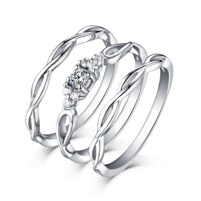 Shining Princess Schliff Weißem Saphir 925 Sterling Silber 3-steine Ringe