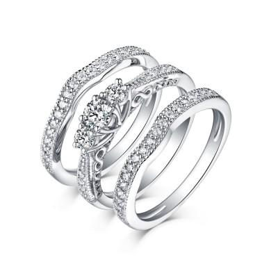 Runder Schliff aus Weißemem Saphir 3-Stern 925er Sterling Silber 3-Zirkonia Ringe