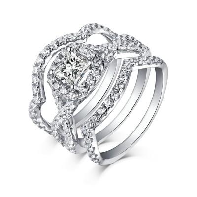 Runder & prinzessingeschnittener Weißemer Saphir 925 Sterling Silber 3-steine Ringe