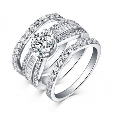 Runder Schliff aus Weißemem Saphir 3-Stern 925er Sterling Silber Ringe
