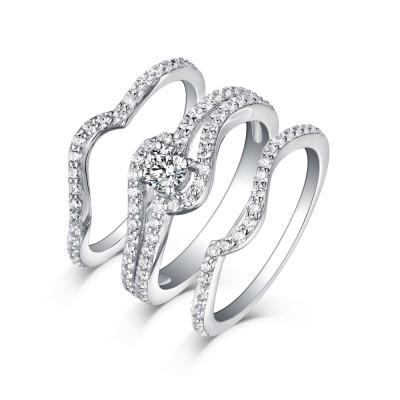 Runder Schliff 3-Stern Weißemer Saphir 925 Sterling Silber Ringe