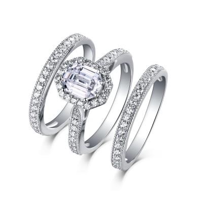 SmaragdSchliff 925 Sterling Silber Weißemer Saphir 3-steine Halo Ringe