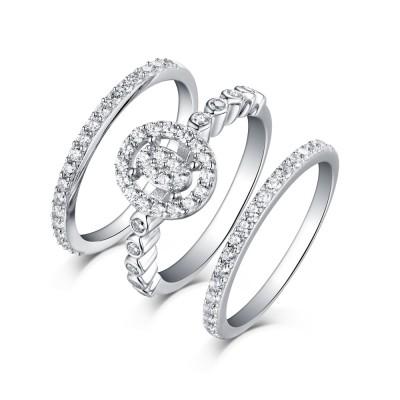 Runder Schliff aus Weißemem Saphir 925 Sterling Silber 3-steine Halo Ringe