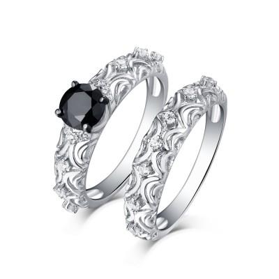 Rundschnitt S925 Sterling Silber Schwarze saphir Art Deco Ringe