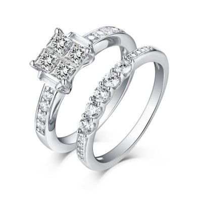 Princess Schliff 925 Sterling Silber Weißem Saphir Ringe