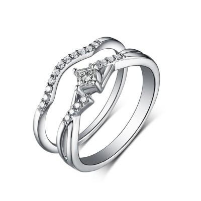 Princess Schliff Weißem Saphir 925 Sterling Silber Hochzeitssets