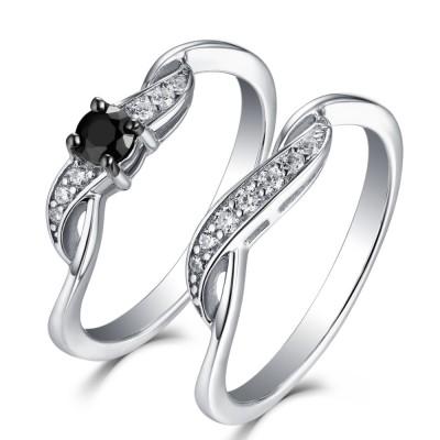 Schwarzer und Weißemer Saphir 925 Sterling Silber Ringe