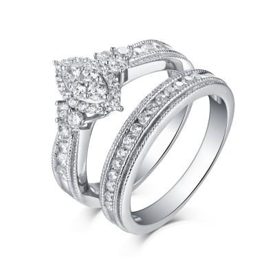 Runder Schliff aus Weißemem Saphir 925 Sterling Silber Halo Ringe