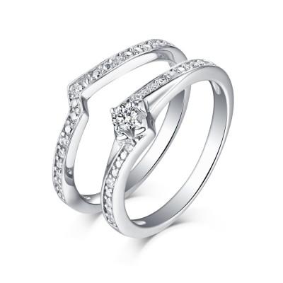 Süßer runder Schliff aus Weißemem Saphir 925 Sterling Silber Ringe