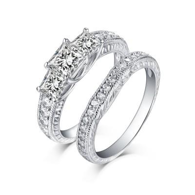 Princess Schliff 925 Sterling Silber Weißem Saphir 3-Zirkonia Ringe