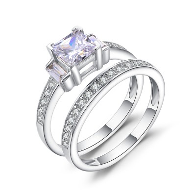 1 / 3CT Princess Schliff Zirkonia Sterling Silber Braut-sets