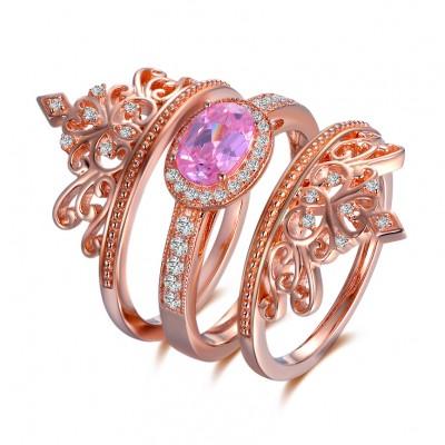 Crown Ovale Schliff Rosa saphir RoséGelbgold 925 Sterling Silber Ringe