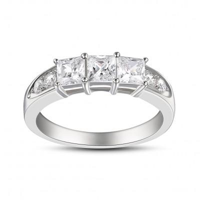 Princess Schliff Weißem Saphir Sterling Silber Drei-Zirkonia-Verlobungsringe
