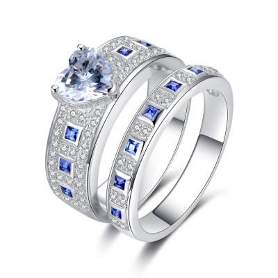 Classic Herz Schliff Blau Saphir Sterling Silber Braut-sets